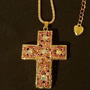 Betsey Johnson Cross Pendant Necklace
